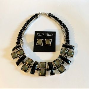 WHBM Black and Grey Necklace and Pierced Earrings